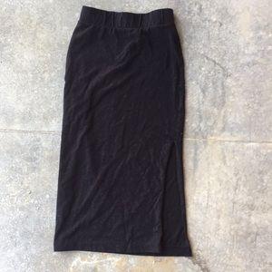 Black tube skirt with slit on one side